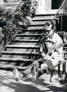 Audrey Hepburn. Filming NYC Breakfast at Tiffany's