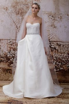 Monique Lhuillier Wedding Dresses - Fall 2014 Bridal Collection  Maxfield Corset Wedding Dress - ivory embellished Chantilly lace strapless sweetheart corset