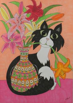 Debbie Hart Tuxedoed Cat with A Vase Art 8 x 10 inch Canvas Print | eBay