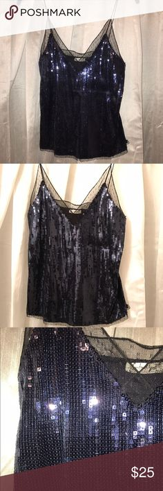 Free people blue sequin skinny strap tank top Never worn! No flaws. Would be amazing for a night out. Just never got around to wearing it. Also fits a size small. Slim fitting. Free People Tops Tank Tops