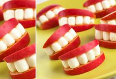 Apple teeth monsters, Top halloween party food ideas, click image for more.