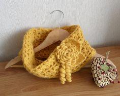 Crochet Cowl Infinity Scarf  Neckwarmer  with by CraftsbySigita on Etsy