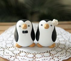 Penguin Wedding Cake Topper...if I were to have a winter wedding these are my cake toppers!