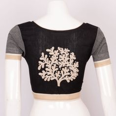 Hand Embroidered Cotton Blouse With Mirror Work 10021958 - profile back - AVISHYA.COM