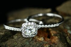 Certified Engagement 5mm 14k White Gold Cushion Cut Brilliant Moissanite Diamond Halo Ring With Half Diamond Eternity Band Anniversary Ring by loveforeverjewelrysv on Etsy