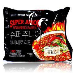 Emart Habanero Ramen 3,6,10 Korean Fire Spicy Instant Noodle Super junior Ramyun #Emart #Koreaninstantspicynoodle Korean Fire Noodles, Korean Food, Super Junior, Ramen, Spicy, Drink, Hot, Kitchen, Fire