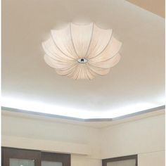 Possini Euro Planetarium 21 Wide Ivory Fabric Ceiling Light