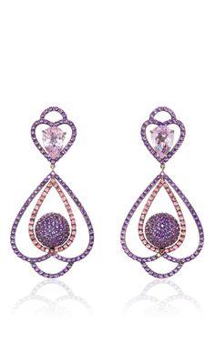 Amethyst Tourmaline And Kunzite Pendant Earrings by SABBADINI for Preorder on Moda Operandi