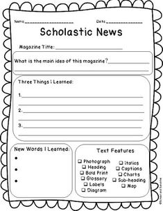 Scholastic News Extension by School and Sunshine Reading Workshop, Reading Skills, Teaching Reading, Reading Logs, Reading Centers, Kindergarten Writing, Reading Resources, Student Teaching, Teaching Spanish