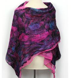 Nuno Felt Cotton Silk Wool Shawl in Pink Blue Black  by ZMFelt, £80.00