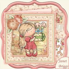 CARRYING PRESENTS Decoupage Mini Kit Birthday Mother's Day by Janet Briggs 2 sheet mini kit with 3d step by step decoupage.  Topper is approximately 8 inch or can be reduced in size for smaller cards.  Suitable for birthday, Mother's Day etc.  Features cute little girl and her puppy, with birthday gifts.  Kit includes, 1. Topper & sentiment tags 2. Decoupage   Several sentiment tags, including one blank. The others read, Happy Birthday. With Love on Mother's Day. Special Mum, Mam, Mummy…