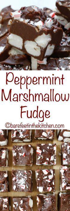 Peppermint Marshmallow Fudge - get the recipe at barefeetinthekitchen.com