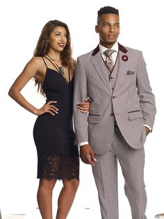New EJ Samuel 3 Piece Wine Burgundy Houndstooth Single Breasted Suit. EJ Samuel specializes in the latest style fashion suits for men made of the very newest pattern. Vest: 5 Button Vest, 2 functional pockets with Velvet Flap Trim, and 2 upper Non Functional Pockets with Flaps. | eBay!