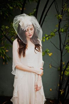 Dress // Hat with tulle veil, venice lace silk flower and leaves, style 512. $185.00, via Etsy.