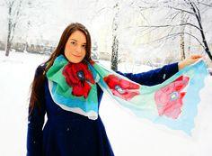 Handmade painted silk scarf 180x45cm