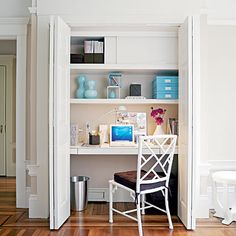 """Talk about workin' with what ya got...I guess if you can spare the closet space this is a clever idea to form an """"office"""" space."""
