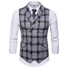 Casual Business Slim Fit Plaid Suit Collar Vest Pure Color Waistcoats For Men is personalized, see other cheap mens vest on NewChic. Mens Suit Vest, Blazer Vest, Plaid Suit, Red Plaid, Dress Vest, Sleeveless Jacket, Waistcoat Men Casual, Suit Men, Casual Suit