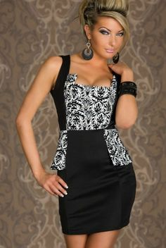 5d1fd1315080 Black and White Damask Mini Dress