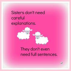 Sisters don't need careful explanations. They don't even need full sentences. @jenn_t_e @patricia1206 @sarahtitusjones