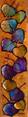 """Daily Painters Abstract Gallery: """"ASPEN LEAF SERIES 8 & 9,"""" 10140, 10141 daily painter metallic leaf collage © Carol Nelson Fine Art"""