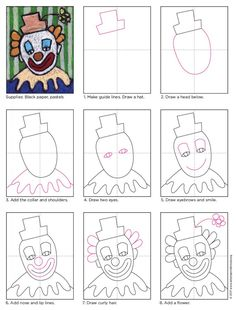 Draw a Clown Face · Art Projects for Kids Learn how to make a clown face drawing on black paper so the classic white face and colorful features can really stand out. Art Videos For Kids, Drawing Lessons For Kids, Art Drawings For Kids, Easy Drawings, Art Lessons, Art For Kids, Clowns For Kids, Projects For Kids, Art Projects