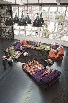 Sectional fabric sofa MAH JONG MISSONI HOME - @rochebobois