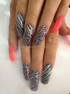 Found another great nail design, re pin and share for others ((TAB)) Grey and peach polish with freehand nail art