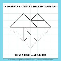 Valentine's Day Heart Tangram - This is a step by step drawing lesson on how to construct a heart shaped tangram and unique patterns. Mother's Day Activities, Valentines Day Activities, Drawing Lessons, Art Lessons, Pattern Blocks, Quilt Patterns, Tangram Printable, Tangram Puzzles, Simple Geometric Designs