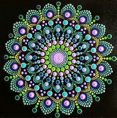 Bold and lovely Dot Mandala on canvas board x Purple, periwinkle, turquoise, green Dot Art Painting, Rock Painting Designs, Mandala Painting, Painting With Dots, Mandala Pattern, Mandala Design, Motif Art Deco, Mandala Canvas, Mandala Rocks