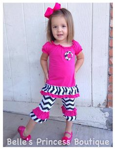 This include the top and ruffle capri pants as pictured. This outfit runs true to size.