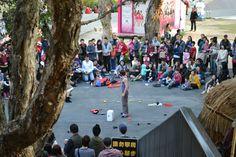 台北市華山藝文中心,街頭藝人表演。