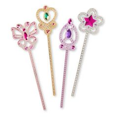 Make magic happen anytime with this set of Dress-Up Wands from Melissa & Doug. The 4 sparkly scepters come in pink, purple, gold and silver, accented with dazzling rhinestones that make them perfect for any little princess. Princess Toys, Little Princess, Fabulous Four, Dress Up Shoes, Style Royal, Jeep Wrangler Accessories, Melissa & Doug, Creative Play, Imaginative Play