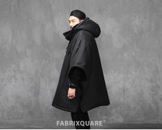 Mens Detachable Hooded Cotton Padded Poncho at Fabrixquare