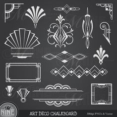 CHALKBOARD Clipart ART DECO Clip Art Design Elements Digital, Instant Download, Vintage Accents Frame Borders Clip Art Illustrations