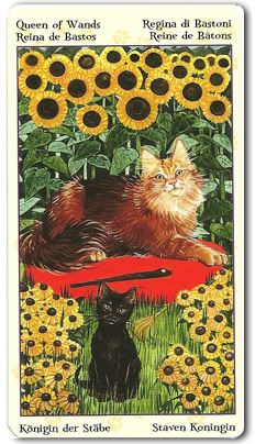 Tarot of Pagan Cats - Queen of Wands