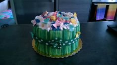 Torta, cakes, birthday, compleanno, flowers, fiori, erba, bouquet, pdz, mmf, Pink, rosa, White, bianco, blue, green, verde, ribbon, fiocco, fondent