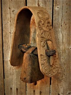 Rare Antique Wood HORSE Stirrup Carved FOLK ART w/Early COW Bell Sign/Dated AAFA #Country