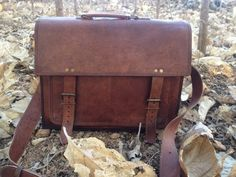Shoulder Bags – 18 inch laptop briefcase leather messenger bag – a unique product by chaudhari on DaWanda