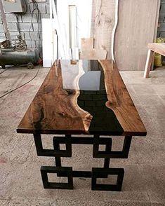 Resin Furniture, Home Furniture, Furniture Design, Esstisch Design, Design Tisch, Wood Table Design, Dining Table Design, Epoxy Wood Table, Wood Tables