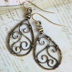 Wire Filigree Jewelry | filigree_wire_wrapped_earrings_antiqued_hammered_bronze_teardrops ...