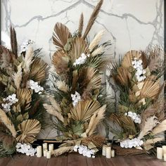 Stunning combination of dry palm leaves, orchids and pampas grass on the marble wall Wedding planning and decor… Palm Wedding, Floral Wedding, Wedding Flowers, Wedding Event Planner, Wedding Events, Wedding Planning, Weddings, Dried Flower Arrangements, Dried Flowers