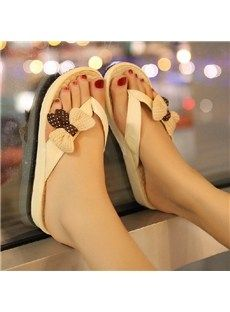 Cute  Flat Heels Flip-flop with Bows