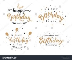 Happy birthday typographic vector design for greeting cards set of happy birthday inscriptions hand lettering brush ink calligraphy vector illustration bookmarktalkfo Choice Image