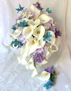 Cascading calla lily bridal bouquet with purple lavender turquoise
