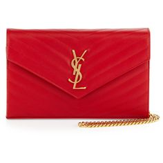 Saint Laurent Monogram Matelasse Wallet-on-Chain ($1,635) ❤ liked on Polyvore featuring bags, handbags, clutches, ysl, red, yves saint laurent purses, quilted purse, chain purse, red handbags and monogram handbags