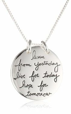 """Amazon.com: Sterling Silver """"Live The Life You Love. Learn From Yesterday. Live For Today. Hope For Tomorrow"""" Reversible Necklace, 18"""": Jewelry"""