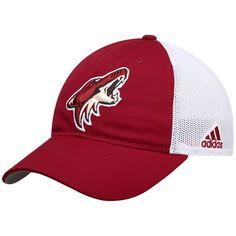 890b6570c49 Men s adidas Red White Arizona Coyotes On Ice Meshback Slouch Flex Hat  Adidas Red