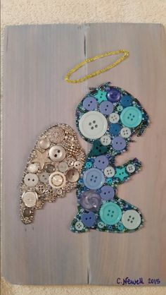Button Art Angel Cerub with Halo on Recycled Wood with Acrylic Paint Background #buttons #button #art