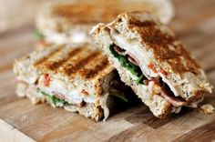 These smoked turkey club paninis are fantastic. Miracles happen when spinach is couched between bacon, bread and cheese and it is all grilled to perfection.