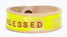 Hot yellow BLESSED SOUL Petite Cuff by LeatherCoutureLV on Etsy, $40.00